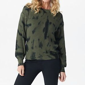 Lisa Rinna Green Tie Dye Cropped Sweatshirt S